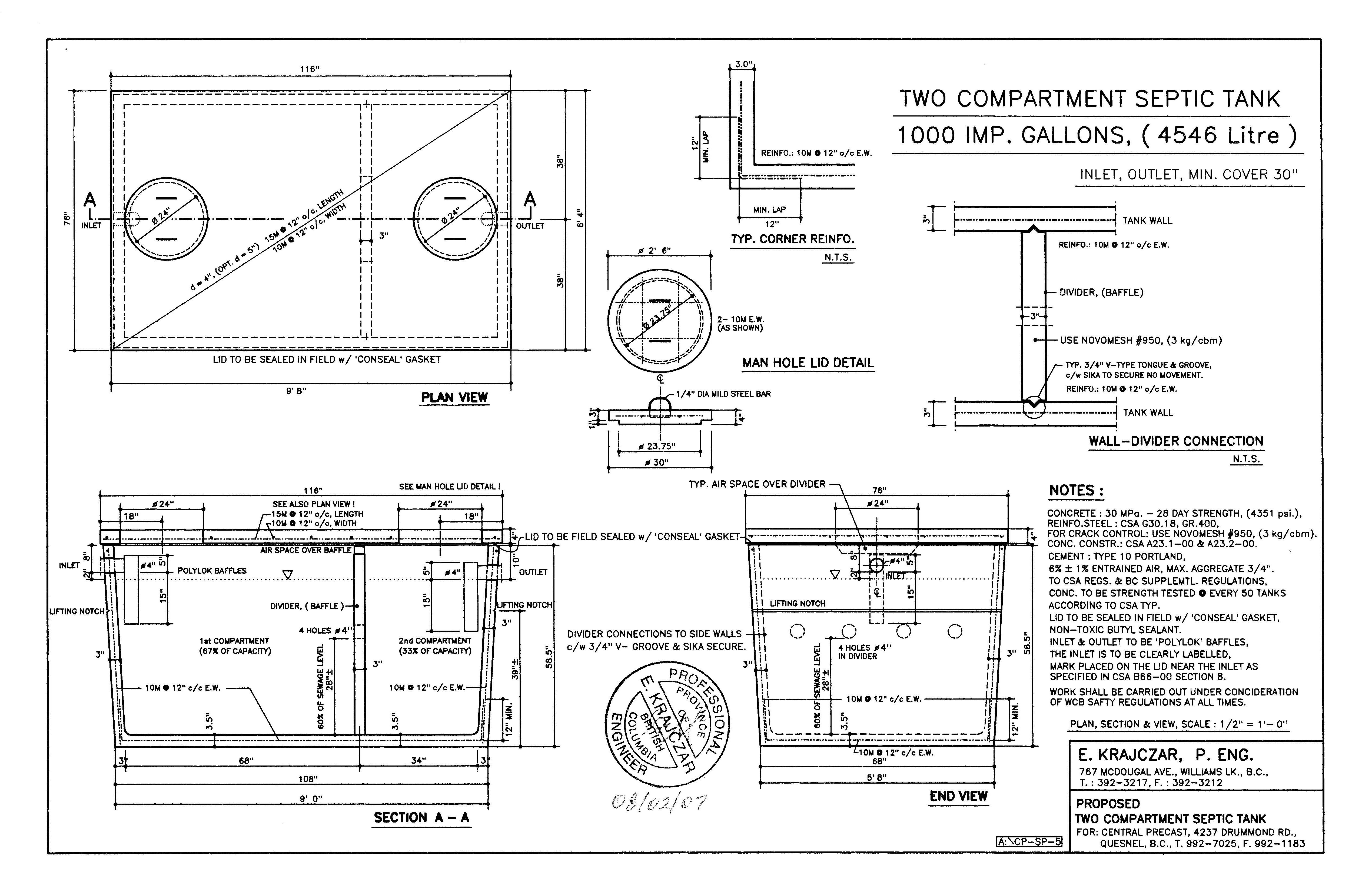 Septic Central Cariboo Precast Ltd Tank Schematic